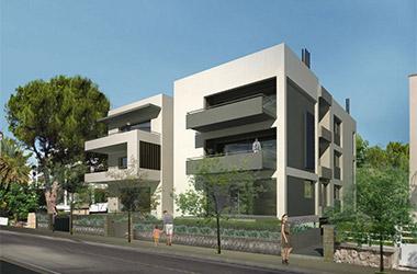 2013: Three-story apartment building with ground floor & two basements, 29 Irodou Attikou street - Chalandri